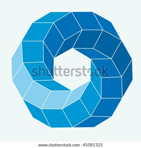 Blue Vector cube elements - stock vector