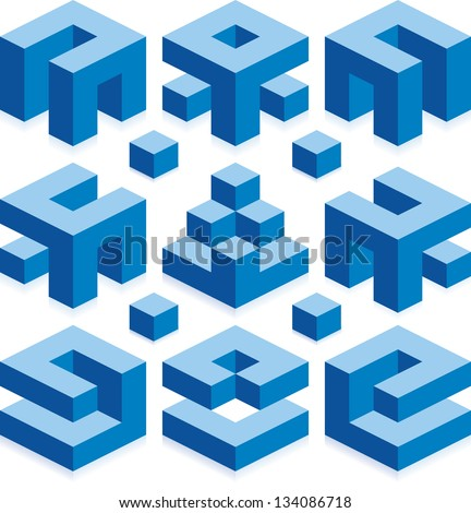 Blue Vector Cubes for Construction Business - stock vector