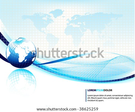 blue vector design template with earth globe - stock vector