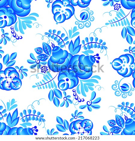 Blue vector floral borders. Element in gzhel style.