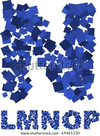 Blue vector font made of flying squares