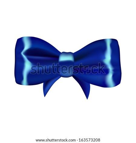 Blue vector gift bow. EPS10 vector. - stock vector