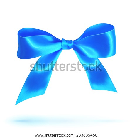 Blue vector glossy silk bow isolated on white - stock vector