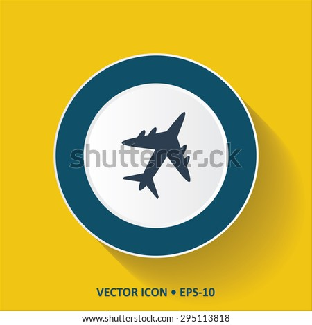 Blue vector Icon of Airplane on Yellow Color Background with Long Shadow. Eps.10. - stock vector