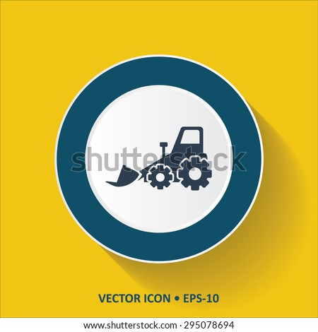 Blue vector Icon of Bulldozer on Yellow Color Background with Long Shadow. Eps.10. - stock vector
