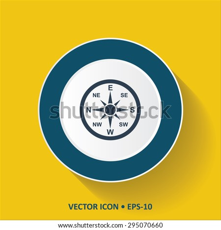 Blue vector Icon of Direction Compass on Yellow Color Background with Long Shadow. Eps.10.
