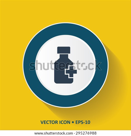 Blue vector Icon of Drug Bottle on Yellow Color Background with Long Shadow. Eps.10. - stock vector