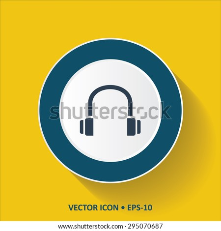 Blue vector Icon of Headphone on Yellow Color Background with Long Shadow. Eps.10.