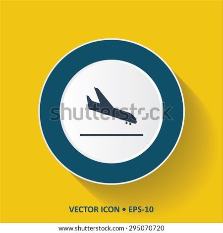 Blue vector Icon of  Landing Aircraft on Yellow Color Background with Long Shadow. Eps.10. - stock vector