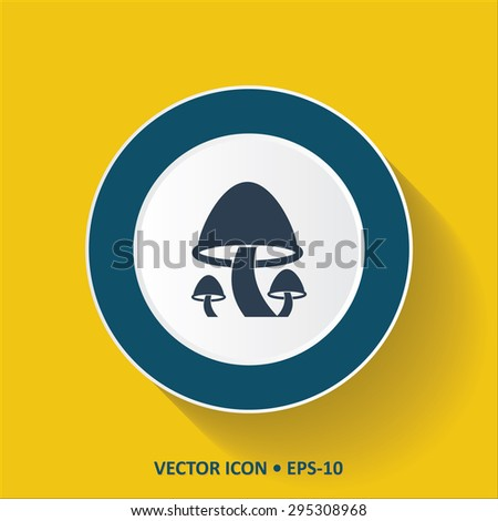 Blue vector Icon of Mushrooms on Yellow Color Background with Long Shadow. Eps.10. - stock vector