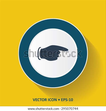 Blue vector Icon of Pointing finger on Yellow Color Background with Long Shadow. Eps.10. - stock vector