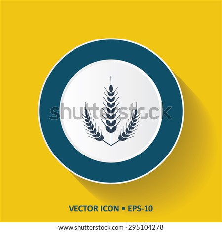 Blue vector Icon of Wheat Ears on Yellow Color Background with Long Shadow. Eps.10.