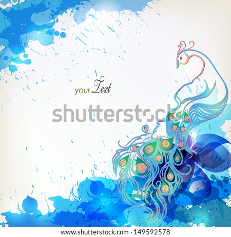 blue Vector illustration with floral design elements and blots - stock vector