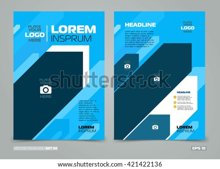 Blue Vector Leaflet Brochure Flyer Template Flat Design, Book Cover Layout  Design, Abstract Blue