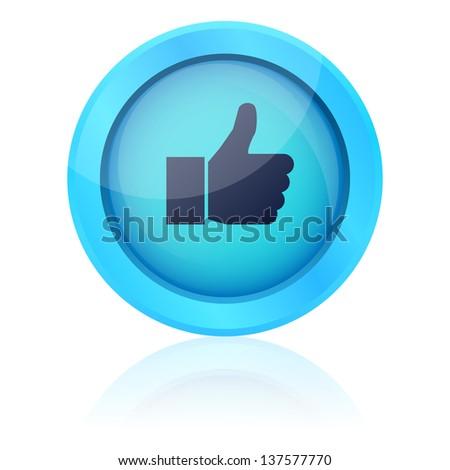 Blue vector like button - stock vector
