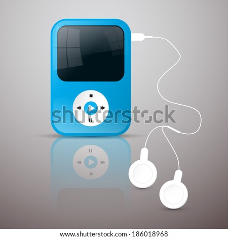 Blue Vector Mp3 Player Illustration with White Headphones - stock vector