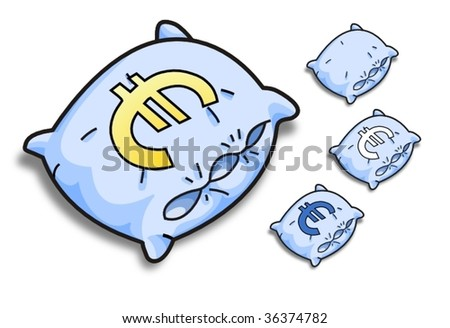 blue vector pillow with a dollar sign