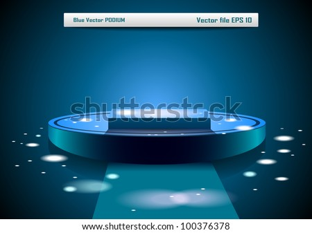 Blue vector podium - stock vector
