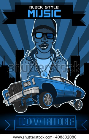 blue vector poster black man musician rapper and low rider (text:black style music,low rider ) - stock vector