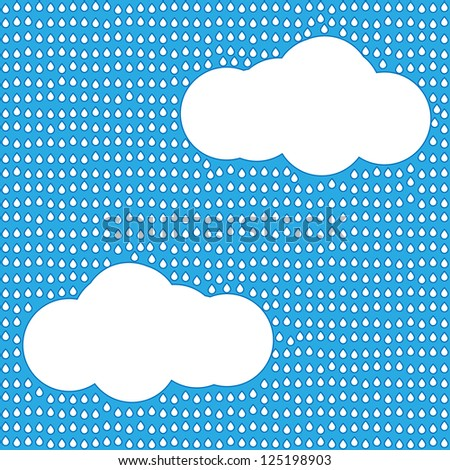 Blue vector rainy sky seamless background