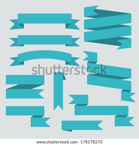 Blue vector ribbons set isolated on background - stock vector
