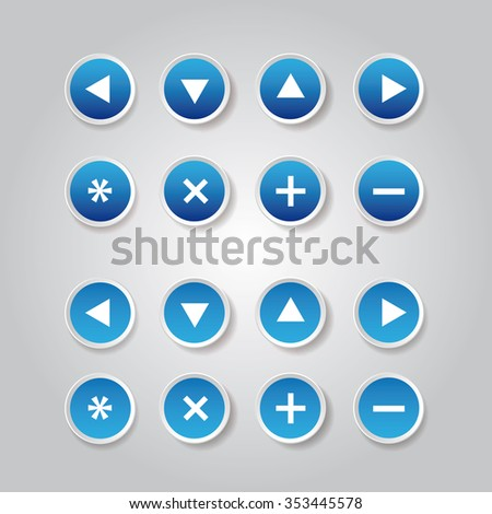 Blue vector round web buttons - stock vector