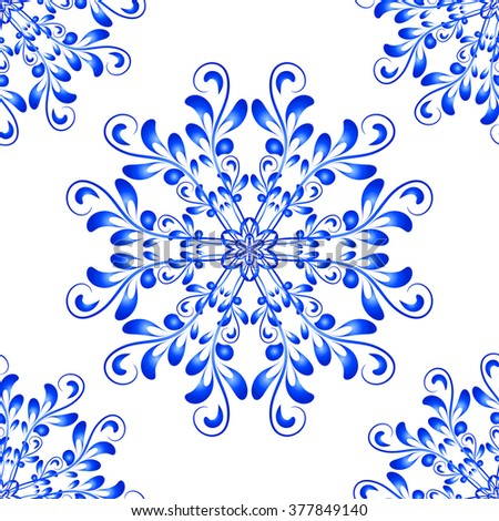 Blue Vector Seamless Floral Mandala Pattern in national russian Gzhel style. Seamless pattern for your wrapped projects. Pattern in swatches panel - stock vector