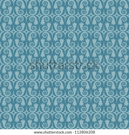 Blue vector seamless pattern. Objects grouped and named in English. No mesh, gradient, transparency used.