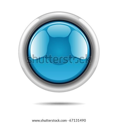 Blue vector shiny button - stock vector