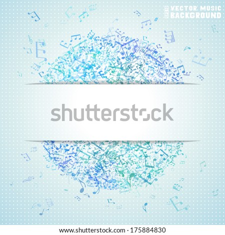 Blue vector square music background. Set of blue music elements on light background. Music abstract circle of notes and treble clefs. There is place for your text. - stock vector
