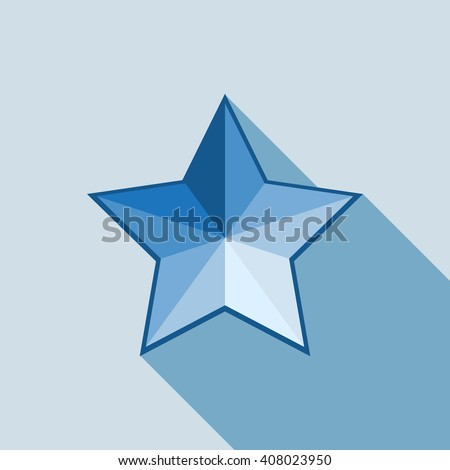 Blue vector volume star icon on white background. Star icon, star logo, blue star, vector star, star sign, star 3d, star picture, star template, star web, star image, star modern, star web, star color - stock vector