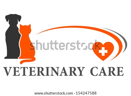 blue veterinary symbol with cross and pets - stock vector