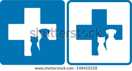 blue veterinary symbol with dog and cat silhouettes - stock vector