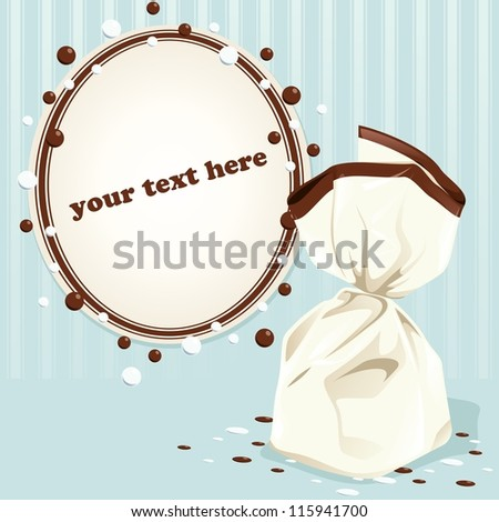 Blue Victorian vintage frame with a truffle (eps10); - stock vector