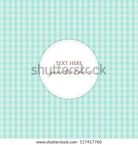 Blue Vintage Card, Plaid Design - stock vector