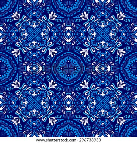 blue vintage ceramic tiles wall decoration vector, pattern for fabric - stock vector