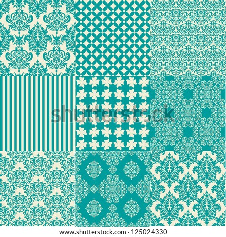 Blue vintage damask designs - stock vector