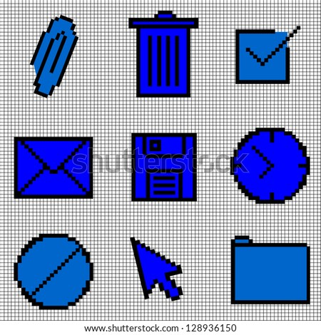 Blue Vintage Icons Vector - stock vector