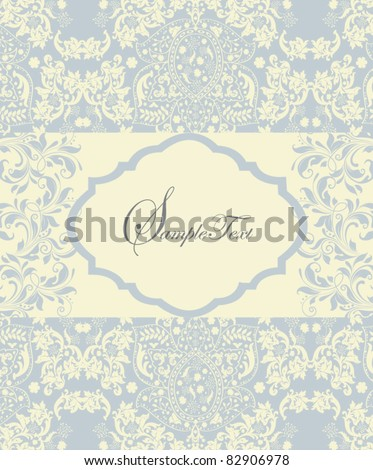 blue vintage invitation card with floral background