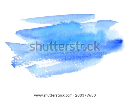 Blue violet watercolor hand drawn isolated paper texture strokes on white background. Wet brush painted smudges abstract vector striped illustration. Design water element for banner, print, template - stock vector