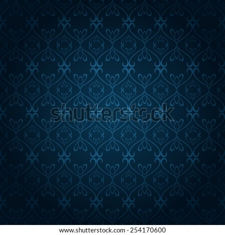 blue wallpaper color, old style, template, image for your design  - stock vector