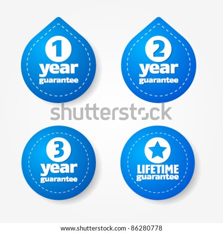 Blue warranty label and sticker collection - stock vector
