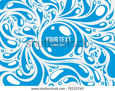 blue water abstract curly background - stock vector