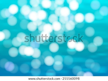 Blue water background with bokeh. sunshine ocean vector illustration. Sea waves with hotspots summer bright wallpaper. - stock vector