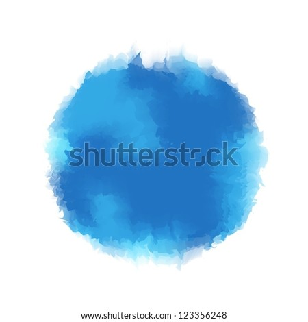 Blue water color round drop for background or design element - stock vector