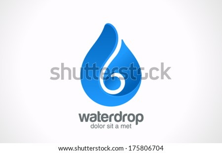 Blue Water drop abstract vector logo design template. Waterdrop creative shape such as logotype. Liquid Droplet concept symbol. - stock vector