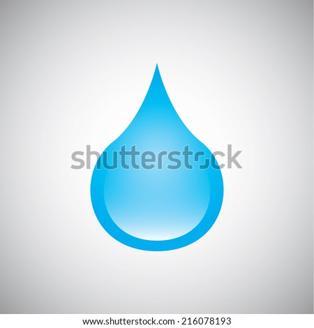 Blue water drop on gray background, vector illustration