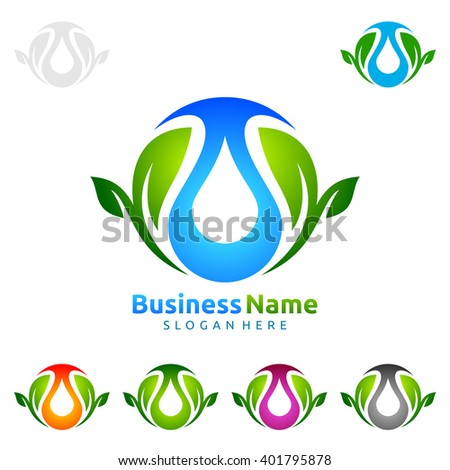 Blue water drop with green leafs ecology vector logo design - stock vector
