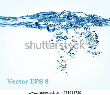Blue water splash, vector illustration EPS 8. - stock vector