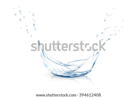 Blue water splash, vector illustration EPS 10. gradient meshes - stock vector